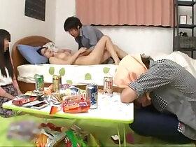 boyfriend porn - Japanese with natural tits fucking a friend while her boyfriend sleep