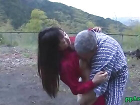 asian porn - Asian Girl Getting Her Pussy Licked And Fucked By Old Man Cum To Ass Outdoor