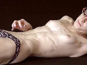 fitness porn - Skinny Fitness Model Poses Topless