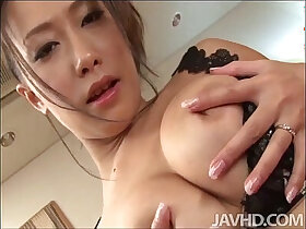 big tits porn - Yayoi Yanagida in a lacey bra plays with her big tits for her fuck buddy driving