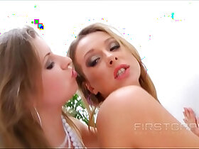 ass porn - Beauty Lesbians Violetta and Violet Moon Ass fuck each other with Strap ons!