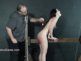 amateur porn - Crying teen slave Kamis wooden device bondage and electro bdsm of amateur submis
