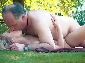 ass porn - Petite teen ass fucked so hard by grandpa on a picnic she blows and swallows him