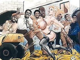 animation porn - Slaves in bondage bdsm cartoon art