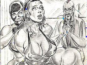 domination porn - amazons dominate mixed wrestling lesbian wrestling art comics