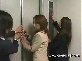 asian porn - Asian girls in trouble in a lift gangbanged