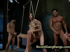 babe porn - Bound suspended babe gets double penetrated