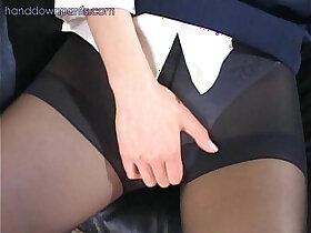 asian porn - Flight attendant caught masturbating in her pantyhose