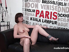 amateur porn - Pretty brunette masturbating with tits fucked hard style banged for her porn casting couch