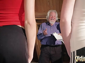 cum porn - Kiara and Mia both fuck an old man and share his cum after a hot fuck