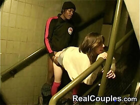 couple porn - hot couple interracial in stairs