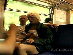 flashing porn - Public daring sex and flashing on a train