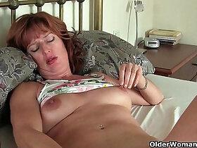 masturbation porn - Mature redheaded milf with sex toys