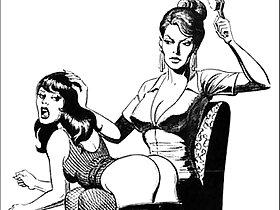 bdsm porn - Girl girl catfight tribbing bondage spanking lesbian femdom fetish bdsm wrestling fight art