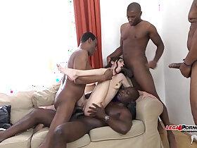 black porn - Mega interracial Gangbang Arwen Gold versus huge black monster cocks