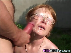 ass fucking porn - Granny In Glasses Face With Cum