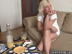 cock porn - Lonely granny swallows two cocks
