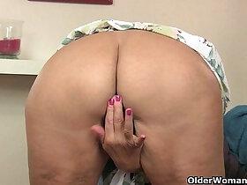 british porn - British granny Amanda Degas fucks herself in stockings