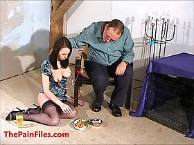 bizarre porn - Nipple clamped Emily Sharpes bizarre food humiliation and messy domination of de