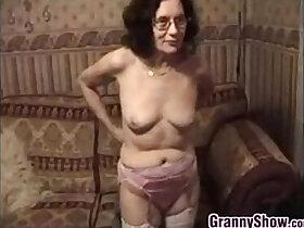 granny porn - Grandmother Stripping And Masturbating