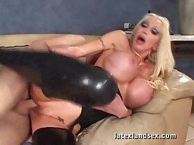 blonde porn - Latex Busty Blonde in kinky hardcore sex