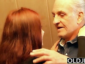 clit porn - Young slut gets fucked hard fucked by old horny man he fucks pussy and licks clit