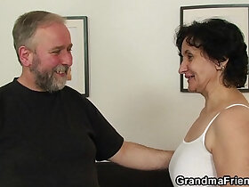 granny porn - Old lady in white lingerie takes it from both sides