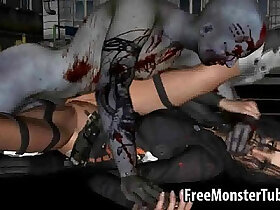 3d porn - Sexy 3D brunette honey ass fucked by a zombie