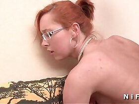 ass porn - Small titted french redhead babe gets a big dick in her ass for her casting