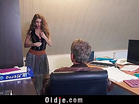 black porn - Sexy secretary blackmails her old boss for dirty fuck and facial