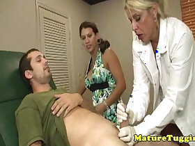 action porn - Busty milf dr tugs cock in kinky ffm action