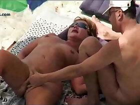 3some porn - Nude BEACH Mature VOYEUR 3some