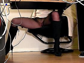 hidden porn - Secretaries under the desk hidden cam masturbation
