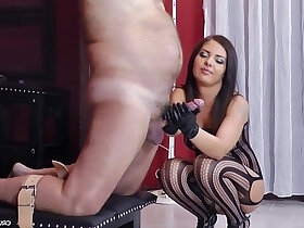 bitch porn - Dominant bitch Lisa jerking off guys in her tormentroom
