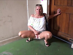 exhibitionist porn - Mature flashing mum outdoors with her sexy milf Jerry showing tits and