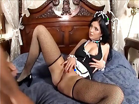 fishnets porn - Maid fucking in her uniform and fishnet stockings