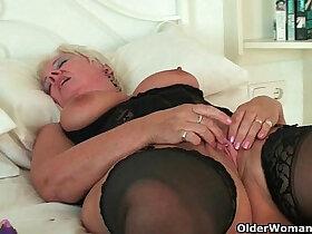 british porn - British grannies Alisha Rydes and Sandie going solo