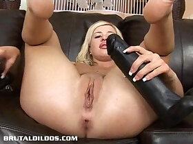 amateur porn - Busty amateur blonde gapes tight ass with a brutal dildo