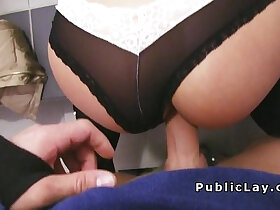 babe porn - Euro babe with sexy glasses banged in public pov