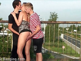 3some porn - Beautiful MILF public threesome orgy by complete strangers